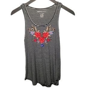 American Eagle Embroidered Floral Striped Tank XS